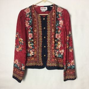 Maggy London Silk button down Boho Top Floral 14